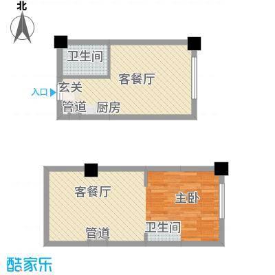 大禹南湖首府35.00㎡G15#公寓loft[造梦工厂]户型1室1厅1卫1厨
