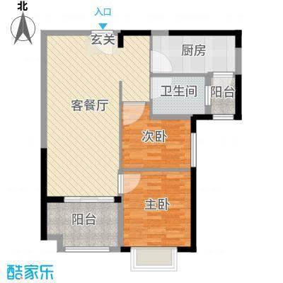 恒大绿洲78.45㎡6号楼07户型2室2厅1卫1厨