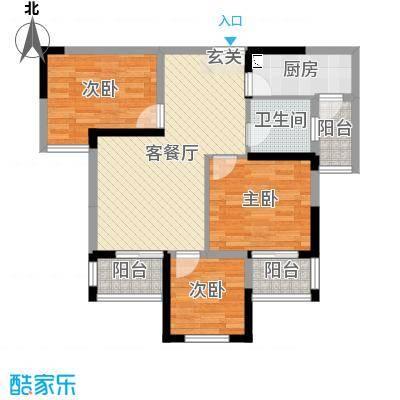 万景城81.00㎡7、8号楼E户型3室3厅2卫1厨