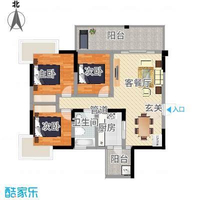 瑞阳领域85.00㎡04户型2室2厅1卫1厨-副本