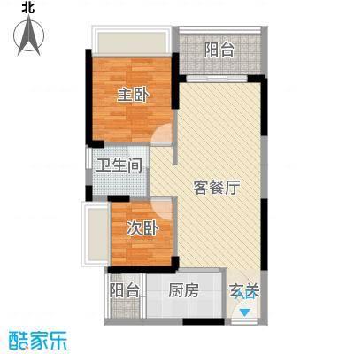 长盈翰林苑69.50㎡2幢02户型2室2厅1卫1厨