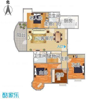 酷家乐-武汉恋湖家园一期三室两厅两卫一厨一书