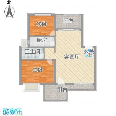 淮北凤凰城85.00㎡户型2室2厅1卫1厨