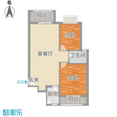 怡和花园105.13㎡高层户型2室2厅1卫1厨