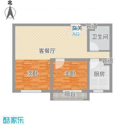 泰丰时代城二期75.69㎡D户型2室2厅1卫