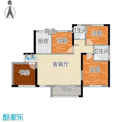 中航山水蓝天120.81㎡21#栋H-2户型4室4厅2卫1厨