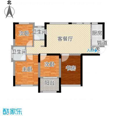 中航山水蓝天114.30㎡19-20#栋E-1户型4室4厅2卫1厨