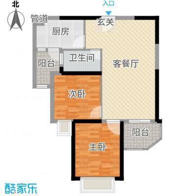 恒大御景85.22㎡12号楼标准层2户型2室2厅1卫1厨