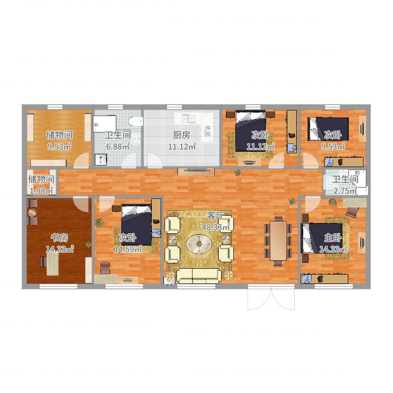 河南 平顶山 北方农村五间房设计图 户型图