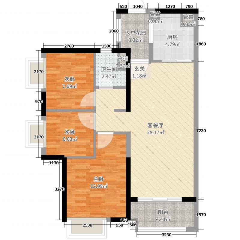 万科幸福誉87.00㎡l1/l2栋02户型3室3厅1卫1厨图片