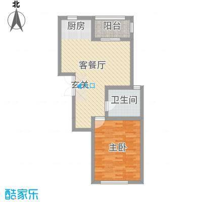 华通・国际城69.04㎡23#B户型1室1厅1卫1厨