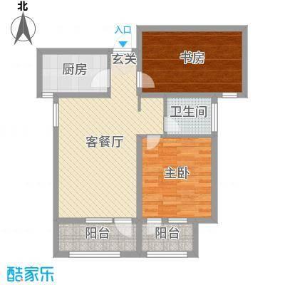 安联生态城78.00㎡8#2单元标准层A户型2室2厅1卫1厨