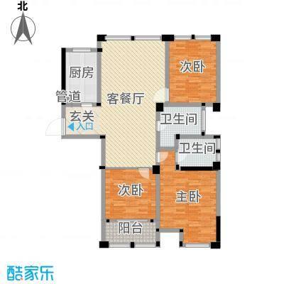 藻江花园二期126.66㎡4#楼标准层F1户型3室3厅2卫1厨