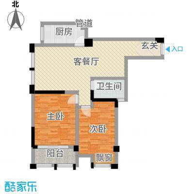 藻江花园二期104.40㎡4#楼标准层B1户型2室2厅1卫1厨
