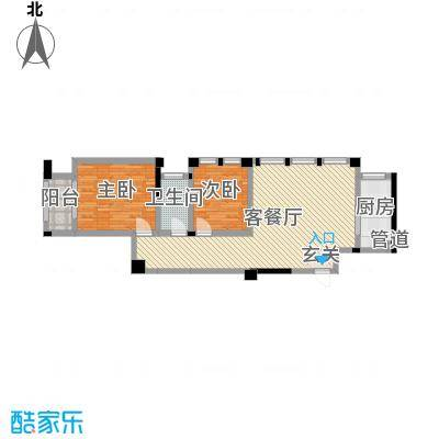 藻江花园二期93.85㎡4#楼标准层A1户型2室2厅1卫1厨