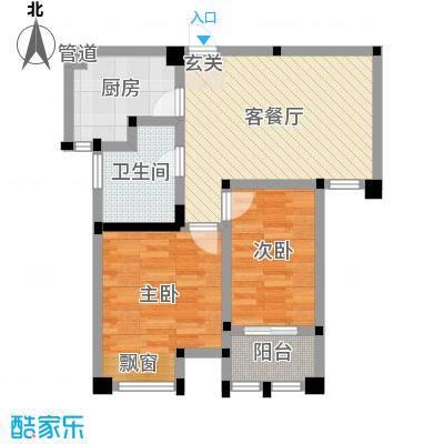 藻江花园二期76.00㎡4#楼标准层C1户型2室2厅1卫1厨