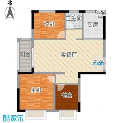 五洲幸福湾107.92㎡一期1#号楼A户型3室3厅1卫