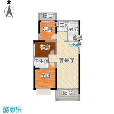 凯旋城113.69㎡D1户型3室3厅2卫1厨