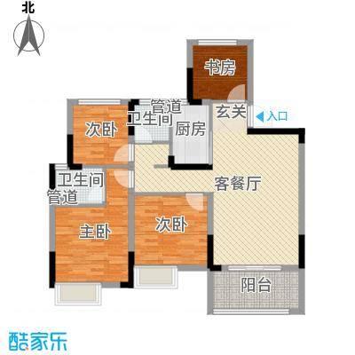 华宇林泉雅舍108.00㎡标准层户型4室4厅2卫1厨