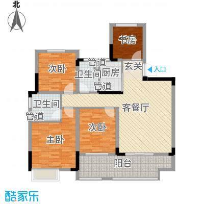 华宇林泉雅舍124.00㎡高层D户型4室4厅2卫1厨
