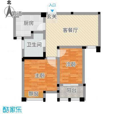 藻江花园二期66.25㎡4#楼标准层E1户型1室1厅1卫1厨