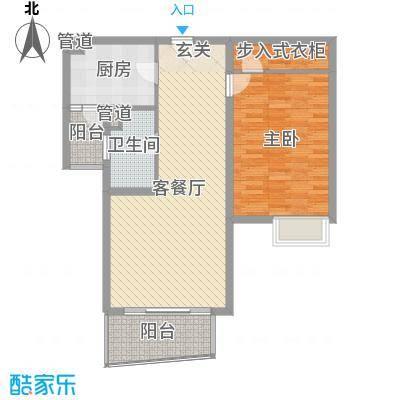鸿城・铂兰湾88.00㎡B户型1室1厅1卫1厨