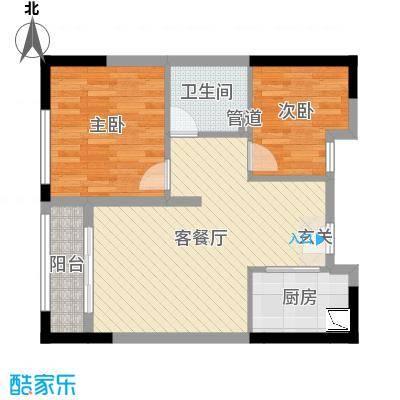 碧桂园・翡翠山75.00㎡Mr公馆AA双拼户型2室2厅1卫1厨