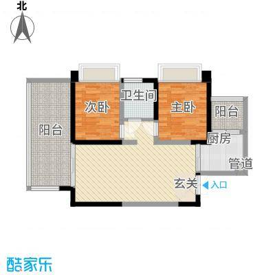 三利宅院领事公馆78.00㎡B户型2室2厅1卫1厨-副本