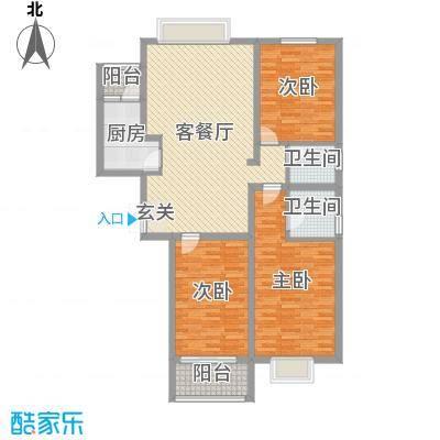 兆通华苑135.65㎡1#楼A2户型3室3厅2卫1厨