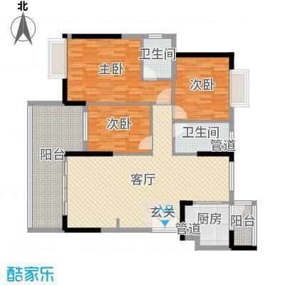 欧浦皇庭132.90㎡4-5栋标准层03-04单元户型3室3厅2卫1厨