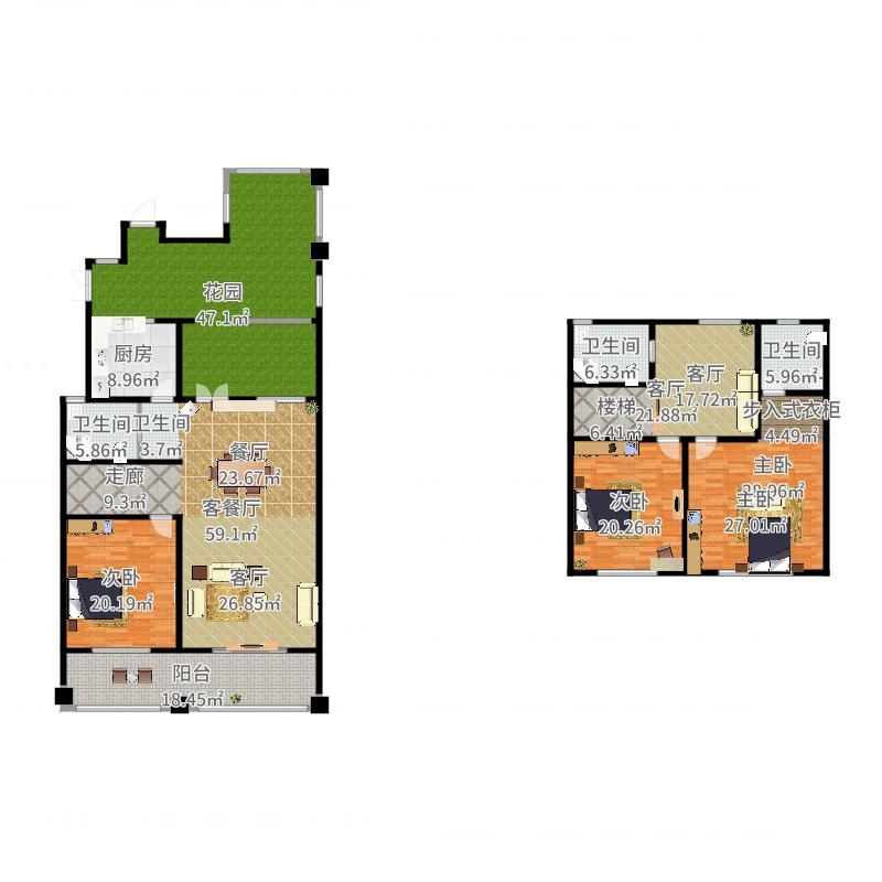 绿地内森庄园246.00㎡户型3室2厅3卫-副本