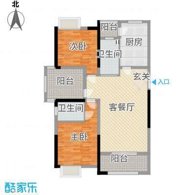 正荣财富中心128.00㎡B3户型2室2厅1卫1厨