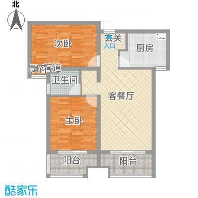 安联生态城86.44㎡标准层F-1户型2室2厅1卫1厨