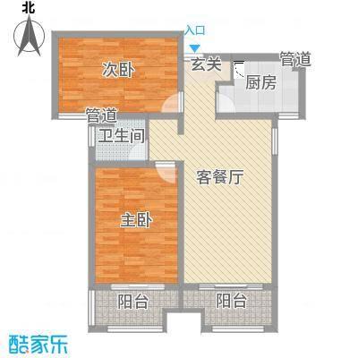 安联生态城89.20㎡3号楼标准层B户型2室2厅1卫1厨