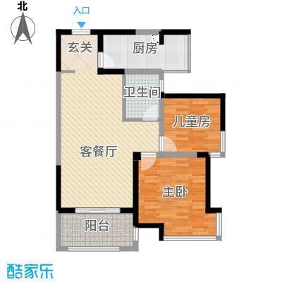 海门东恒盛国际公馆87.00㎡8#楼户型2室2厅1卫1厨