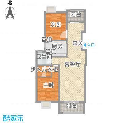 莱蒙水榭阳光110.00㎡一期5、6、7号楼标准层D户型2室2厅2卫1厨