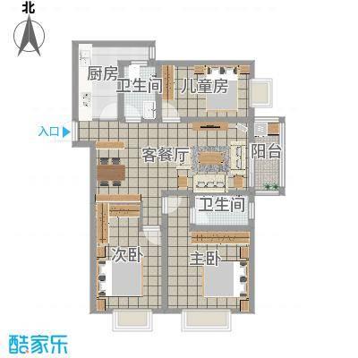 迎西城・龙湾佳园122.50㎡E户型-现代简约-王先生-副本