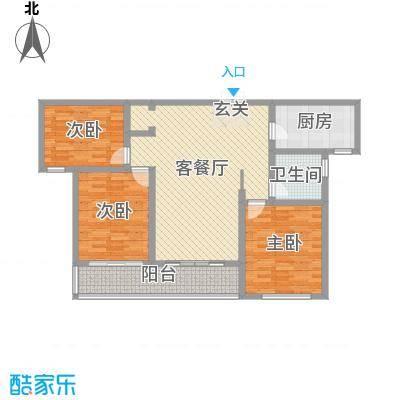 蓝柏湾115.00㎡高层B1B3号楼中间户C户型3室3厅1卫1厨