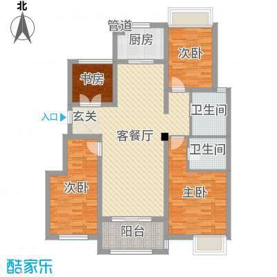 半岛珑庭二期115.00㎡10#15#20#标准层户型4室4厅2卫1厨