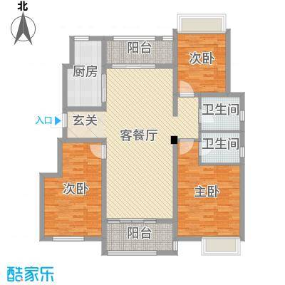 半岛珑庭二期130.00㎡10#15#20#标准层户型3室3厅2卫1厨