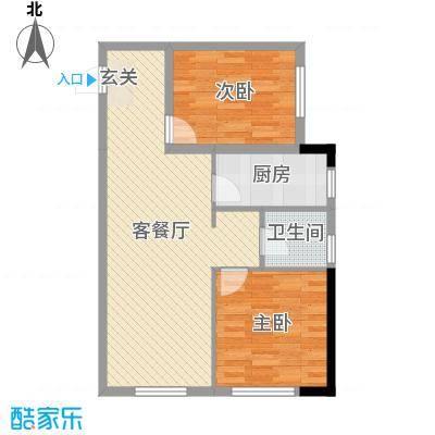 蓝色康桥・炫领域85.28㎡13#F户型2室2厅1卫1厨
