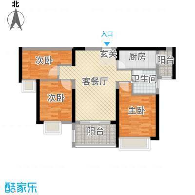 东部现代城93.00㎡36/37栋02户型3室3厅1卫1厨