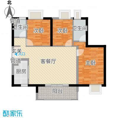 时代廊桥98.00㎡1/2座02/05单元户型3室3厅2卫1厨