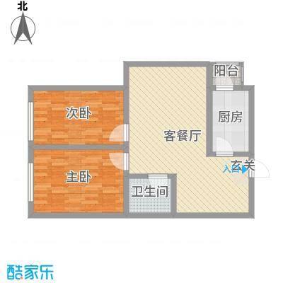 新星花园81.30㎡E户型2室2厅1卫1厨