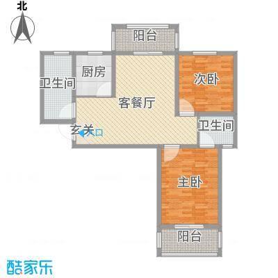 众城名府105.16㎡二期A6户型2室2厅2卫