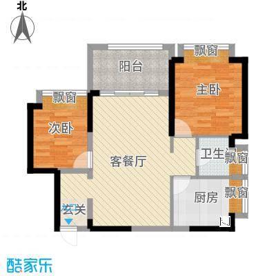壹号公馆77.00㎡1/2栋1/2单元04户型2室2厅1卫1厨