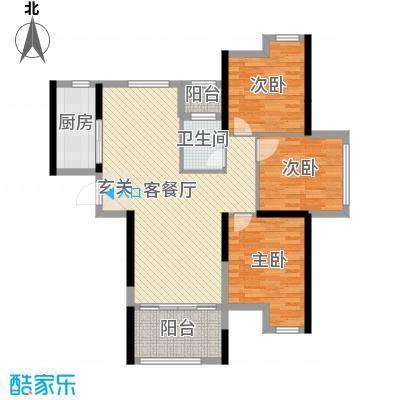 九颂山河博园101.30㎡2、10、11、12号楼B2户型3室3厅1卫1厨