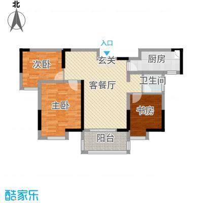 紫晶未来城95.00㎡一期1-10号楼标准层F5户型3室3厅1卫1厨
