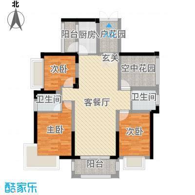 碧琴湾花园111.92㎡09栋03单元户型4室4厅2卫1厨