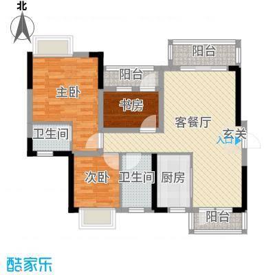 碧琴湾花园94.00㎡5、6栋02单元户型3室3厅2卫1厨